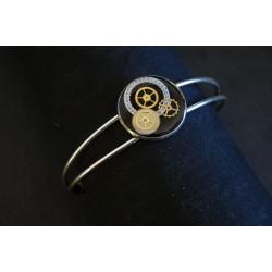 Bracelet laiton réglable noir